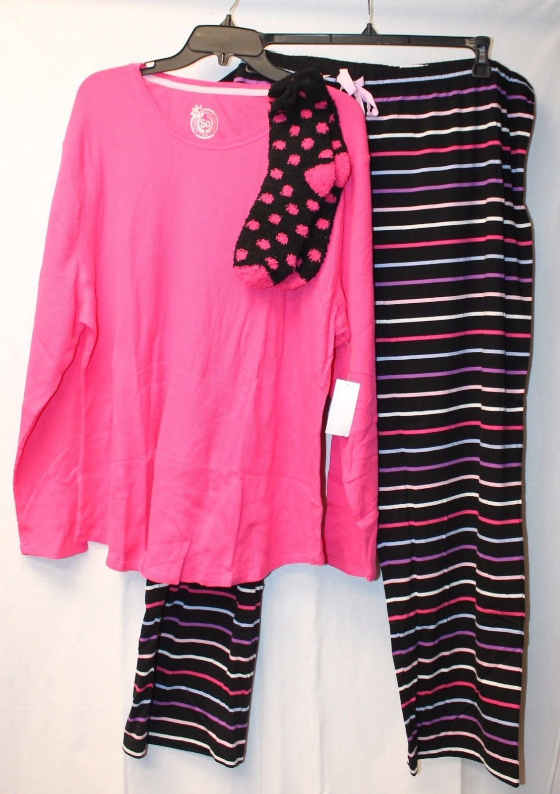 NEW WOMENS PLUS SIZE 3X 3XL SO 3PC GEOMETRIC THERMAL KNIT PAJAMAS PAJAMA SET PJs - $24.19