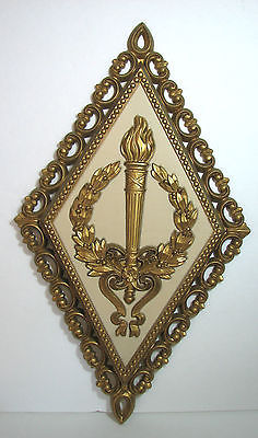 Vintage Homco Set 3 Greek Art Wall Hanging Hollywood Regency Decor Gold