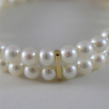 18K YELLOW GOLD BRACELET WITH TWO STRANDS WHITE FW PEARLS 7.08 IN MADE IN ITALY image 1