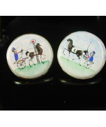 Extra large Italy cuff links  hand painted horse trotter sterling enamel... - $410.00