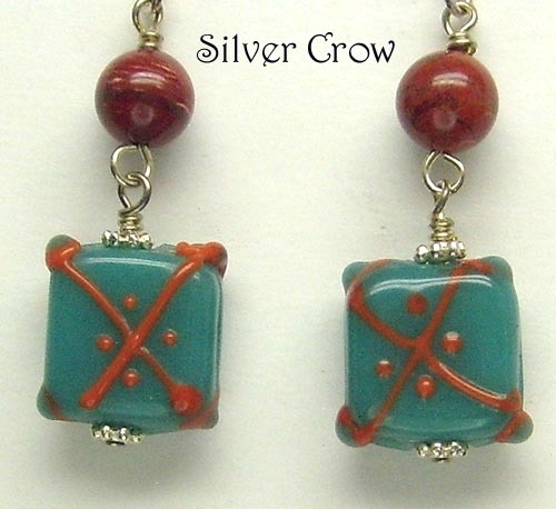 Deep Turquoise Blue & Orange Lamp Work & Jasper Earrings  Ethnic