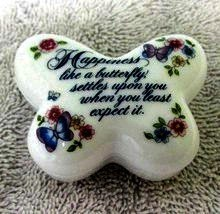 1984 AVON Porcelain Trinket Buttery Box -  No Earrings - $5.00