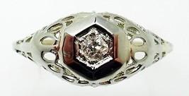 Filigree / Art Deco 14k Gold .05ct Genuine Natural Diamond Ring (#J3294) - $395.00