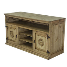 Honey Rustic TV Stand with Stars Real Solid Wood Western Cabin Lodge - $643.49