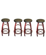 """QTY 4 30"""" Iron And Wood Red Scraped Barstool Western Rustic Real Wood Fr... - $742.49"""