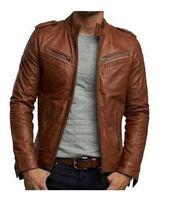 Men Tan Brown Biker Fashion Leather Jacket for men with Tab Collar zippe... - $159.00