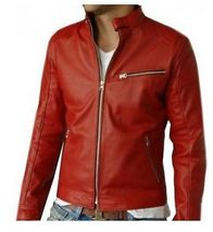 New handmade Men's Elegant Red Biker Leather Jacket, men leather jacket - $159.00