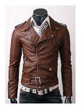 New handmade Men's Belted Brown Biker Leather Jacket, men new leather - $159.00