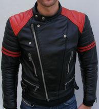 Mens Black Red Biker Brando Leather Jacket Red shoulder Padding with YKK... - $159.00