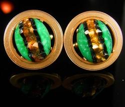Outstanding Foil Cufflinks Dante Gold LARGE jewellery Green stripe Carved stone  - $265.00