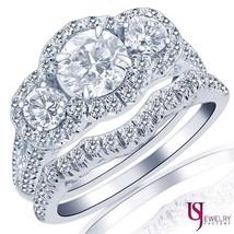 2.38ct Round 3 Stone Halo Diamond Matching Wedding Engagement Bands Set ... - €4.506,17 EUR