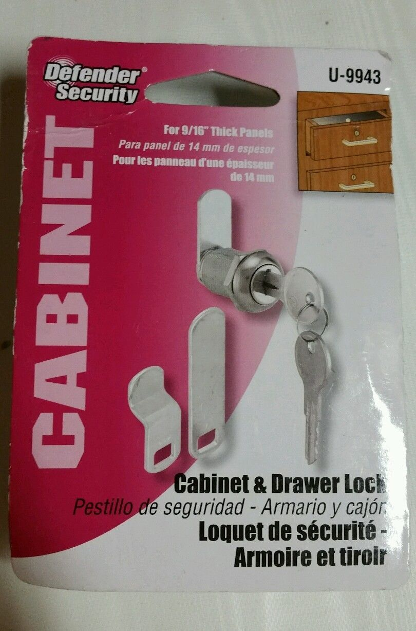 """NEW Defender security U-9943 9//16/"""" Cabinet /& Drawer Lock   *FREE SHIPPING*"""