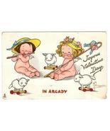 Tuck Drayton Wiederseim Valentine Postcard In Arcady Sheep Toys Girls w ... - $9.95