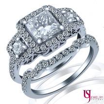 2.23ct (1.05) Princess Diamond Wedding Halo Three Stone Matching Bands Set 14k - $5,790.51