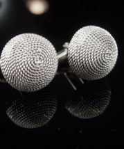 Naughty Cufflinks Bra shape silver dome gent vintage cuff links Dante industrial - $65.00