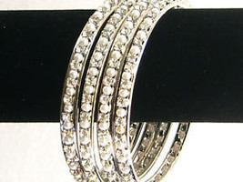 "Designer Crystal Bangle Set of 4 Silver Tone Faux Pearls Large /2.10"" INDIA - $15.81"