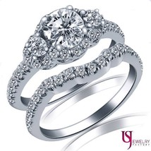 Natural Round 1.30 Carat Diamond Engagement Ring Matching Wedding Band 1... - €2.587,67 EUR