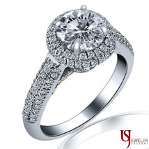 1.83 Carat (1.00)E Si1 Halo Set Round Cut Diamond Engagement Ring 14 K White Gold - $4,949.01