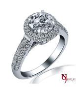 1.83 CARAT (1.00)E-SI1 HALO SET ROUND CUT DIAMOND ENGAGEMENT RING 14K WH... - $4,949.01