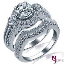 Round Diamond Engagement Ring Wedding Band Set 14K Gold 1.97 Carat (0.80... - £3,252.93 GBP