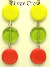 Bright Yellow, Red & Lime Green Disc Dangle Earrings - $8.99