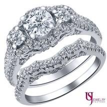 Round Diamond Engagement Ring Wedding Band Set 14K Gold 1.89 Carat (0.73... - £2,725.92 GBP