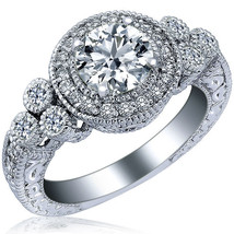 Vintage Round Cut Diamond Engagement Ring 14k White Gold 1.64 Carat (1.07) F/VS2 - $4,612.41