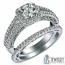 Halo Set Round Cut Diamond Wedding Bridal Bands Set 14k White Gold 1.33 Carat - $3,018.51