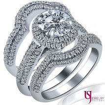 3.24 Carat Natural Diamond Engagement Wedding Band Ring Set Round Cut 18... - €6.846,92 EUR
