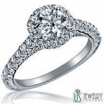 Round Cut Diamond Engagement Ring 14 K White Gold 1.67 Carat (1.03) F Vs2 - $3,632.31