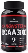 Monster BCAA 3000 -120 tablets PowerFoods-Concentrated AminoAcid Muscle ... - $16.95