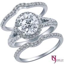 Diamond Engagement Ring Matching Wedding Band 14K Gold 2.17 Carat (1.08) G/H-SI1 - $4,760.91