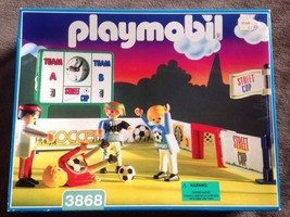 Playmobil 3868 Street Cup Arena Soccer- Vintage 1996 NEW SEALED BOX! - $93.49