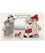 Children Comic Valentine Postcard I'd rather go fishing Boy Girl Puppy V... - $4.99