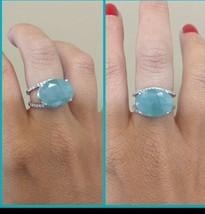 New Huge Natural Rare sky blue 12 ct Grandidierite Diamond & 14k gold ring - $12,999.00