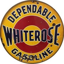 "Large Dependable Whiterose Old Looking Gas Station Sign Round 18"" - $46.53"