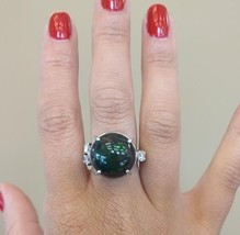 New Huge Custom 14 ct radiant Ethiopian black welo opal Diamond & Platin... - $7,999.00