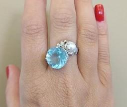 Estate Huge Santa Maria 6.36 ct Aquamarine, Pearl & Diamond 14k gold rin... - $1,799.99