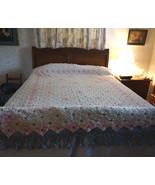 Antique Vintage Floral Crochet Bedspread Coverlet Sawtooth Edge Pink Cre... - $257.99