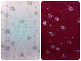 Flowers & Swirl Leaves Silver Sparkle Glitter Stretch Polyester Spandex ... - $2.96+