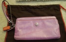 Coach Poppy pink leather double zip wallet long wristlet 47894 lilac - $42.00