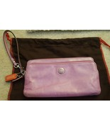 Coach Poppy pink leather double zip wallet long wristlet 47894 lilac - $45.00