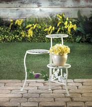 COUNTRY GRAPE Plant Stand White Iron with 3 Platforms - $33.87