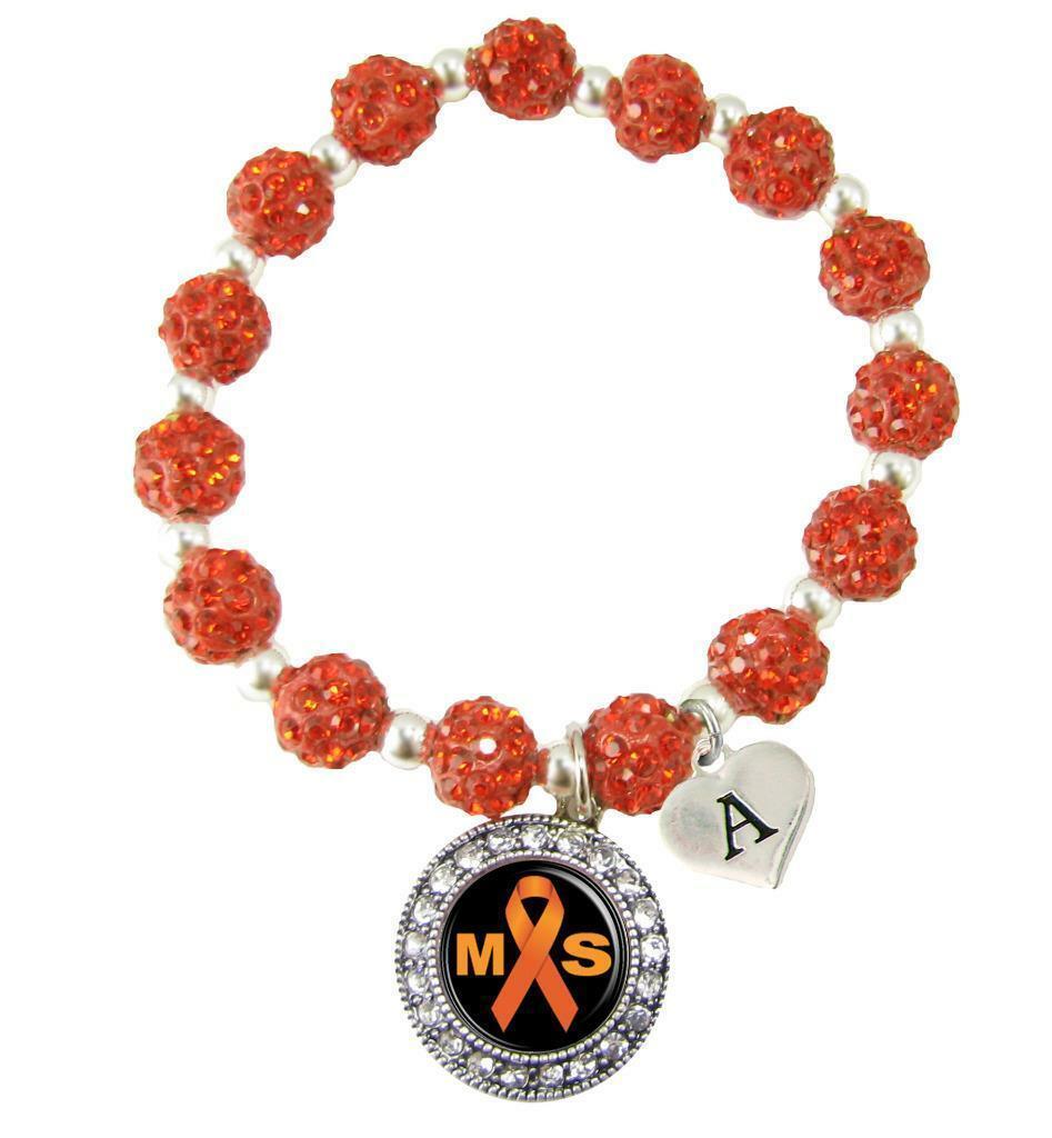 Custom Multiple Sclerosis Awareness Orange Bling Bracelet Jewelry Choose Initial - $13.80 - $14.72