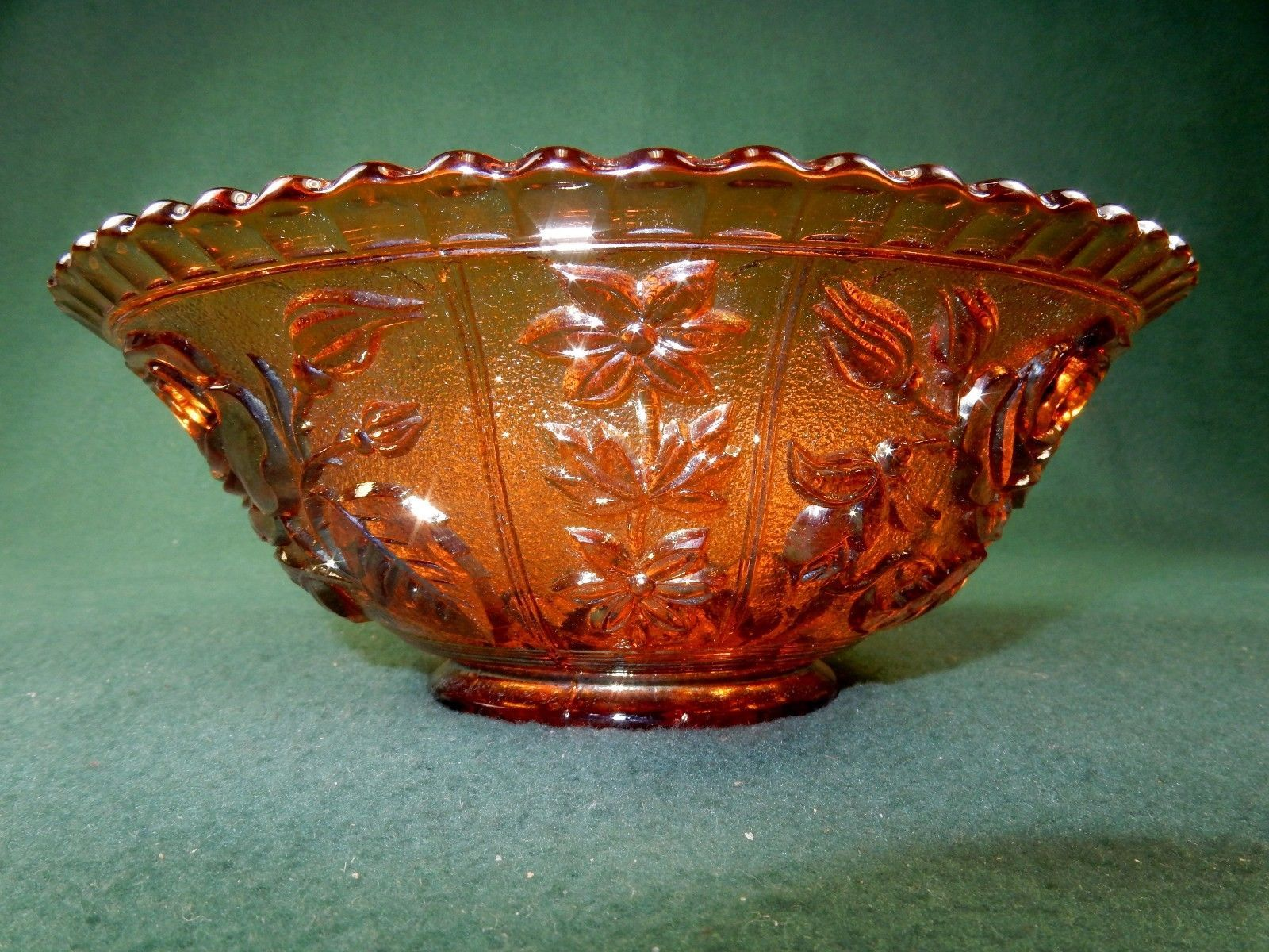 """Vintage Glass Bowl, 7 1/2"""" Open Rose Pattern, Imperial Carnival Glass"""