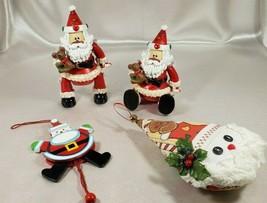 3 Articulated Wood (?) Santa Christmas Decorations +1 Free Fabric Santa ... - $12.60
