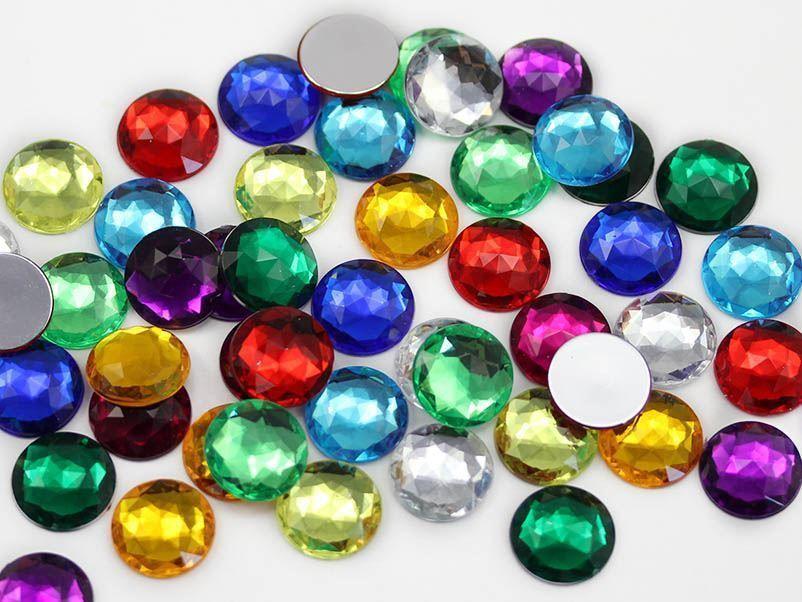 15mm Blue Aqua .QR Flat Back Round Acrylic Gems - 40 Pieces