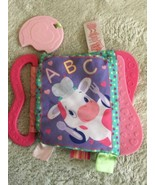 Bright Starts Girls Pink Purple Cloth Crinkle Baby Book Handle Teether  - $4.50