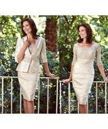 Newly Light Champagne Lace Short Mother Of the Bride Dress Sheath With J... - $118.33