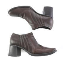 Clarks Dark Brown Leather Ankle Boots Booties Chunky Heels Womens 8.5 M - $29.58